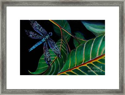 Dragon Fly Soaring - Botanical Framed Print by Grace Liberator