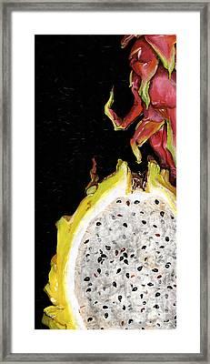 dragon fruit yellow and red Elena Yakubovich Framed Print by Elena Yakubovich