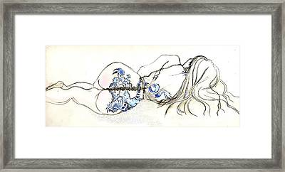 Framed Print featuring the painting Dragon Girl by Carolyn Weltman
