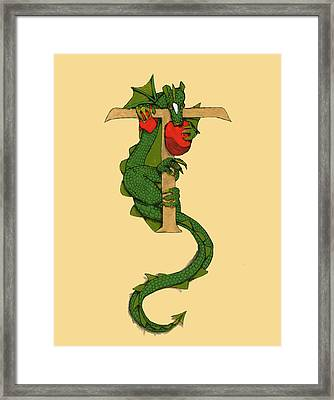 Dragon Letter T Framed Print by Donna Huntriss