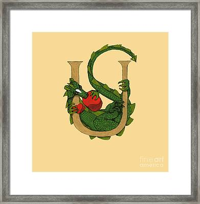 Framed Print featuring the mixed media Dragon Letter U by Donna Huntriss