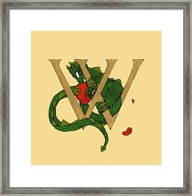 Framed Print featuring the mixed media Dragon Letter W by Donna Huntriss