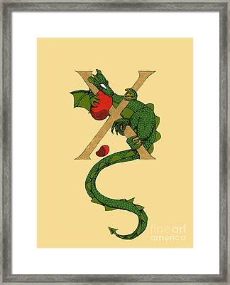 Framed Print featuring the mixed media Dragon Letter X by Donna Huntriss