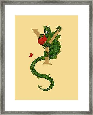 Framed Print featuring the mixed media Dragon Letter Y by Donna Huntriss