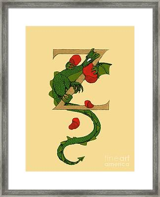 Framed Print featuring the mixed media Dragon Letter Z by Donna Huntriss