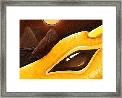Dragon Of The Twin Volcanoes Framed Print by Elaina  Wagner