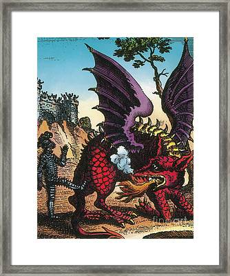 Dragon Of Wantley, 16th Century Framed Print by Photo Researchers