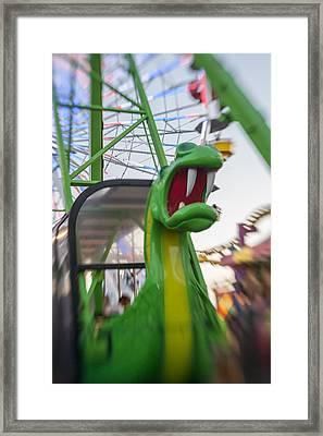 Roar Too The Green Dragon Ride Framed Print
