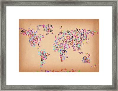 Dragon World Artistic Map Framed Print