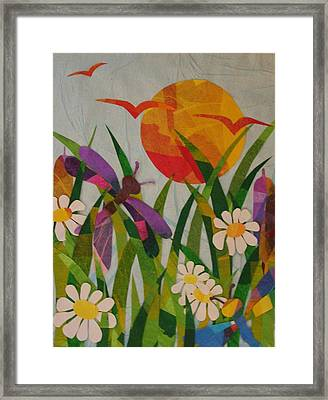 Dragonflies And Daisies Framed Print