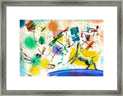 Dragonflies And Dog Framed Print by Nato  Gomes