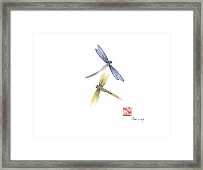 Dragonflies Love Yellow Blue Brown Dragonfly Lake Water Watercolor Painting Framed Print