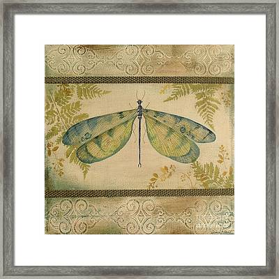 Dragonfly Among The Ferns-1 Framed Print by Jean Plout
