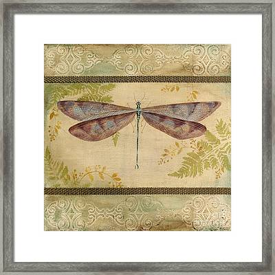 Dragonfly Among The Ferns-3 Framed Print by Jean Plout