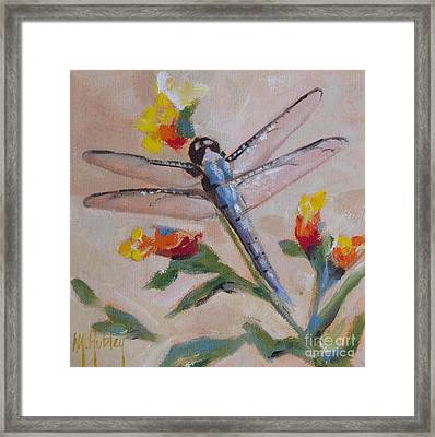 Dragonfly And Flower Framed Print