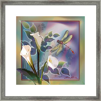 Dragonfly Dream In Green And Purple Framed Print