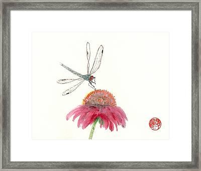 Dragonfly Flower Framed Print
