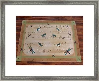 Dragonfly Symphony 64x45 Art For Your Floor Framed Print by Cindy Micklos
