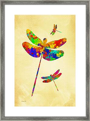 Dragonfly Watercolor Art Framed Print by Christina Rollo