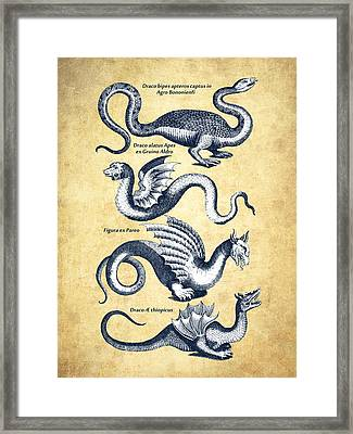 Dragons - Historiae Naturalis  - 1657 - Vintage Framed Print by Aged Pixel