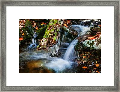 Dragons Teeth Icicles Waterfall Great Smoky Mountains Painted  Framed Print