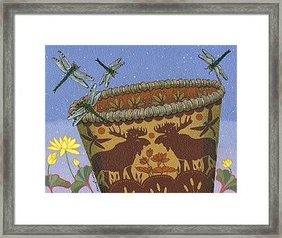 Framed Print featuring the painting Dragonfly - Cohkanapises by Chholing Taha