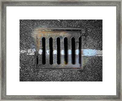 Drain With Blue Line Framed Print by Charles Stuart