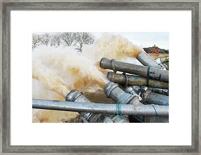 Draining Somerset Levels Floods Framed Print