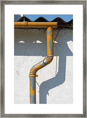 Drainpipe White Structured Wall  Framed Print