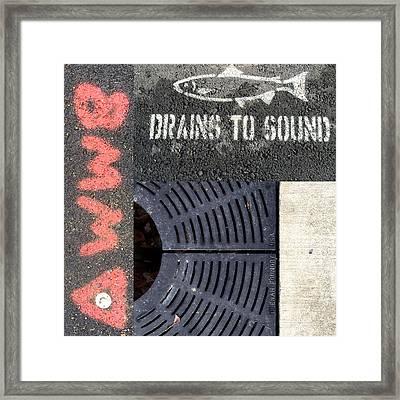 Drains To Sound Framed Print by Nancy Merkle