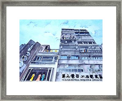 Drama Above The Street Level Shops Hongkong Framed Print by Ruth Bodycott