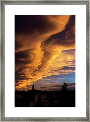 Dramatic Colourful Clouds At Sunset Framed Print by Michael Interisano