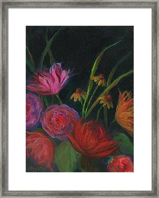 Dramatic Floral Still Life Painting Framed Print