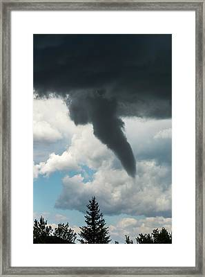Dramatic Funnel Cloud Created In Dark Framed Print by Michael Interisano