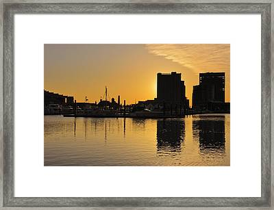 Framed Print featuring the photograph Dramatic Golden Sunrise Baltimore Inner Harbor  by Marianne Campolongo