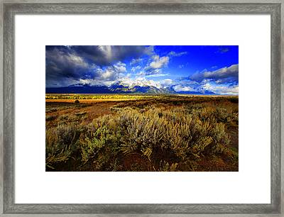Framed Print featuring the photograph Dramatic Jackson And Salt Lake by Richard Wiggins