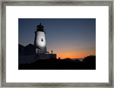 Dramatic Lighthouse Sunrise Framed Print