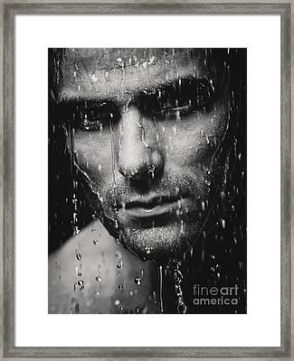 Dramatic Portrait Of Man Wet Face Black And White Framed Print by Oleksiy Maksymenko
