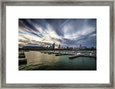 Dramatic Skies Over Chicago's Burham Harbor Framed Print