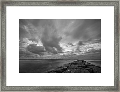 Framed Print featuring the photograph Dramatic Skies Over Galveston Jetty by Todd Aaron