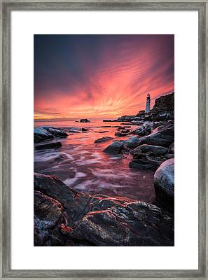 Dramatic Sunrise On The Coast Of Maine Framed Print
