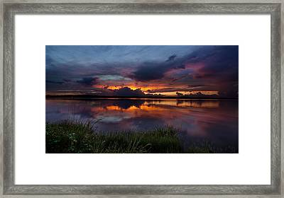 Dramatic Sunset At The Lake Framed Print