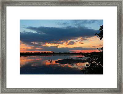 Framed Print featuring the photograph Dramatic Sunset by Rosalie Scanlon