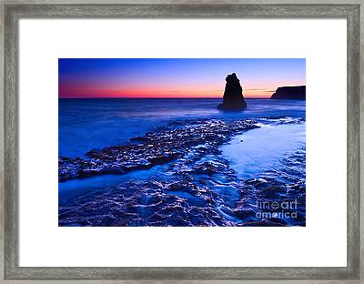 Dramatic Sunset View Of A Sea Stack In Davenport Beach Santa Cruz. Framed Print by Jamie Pham