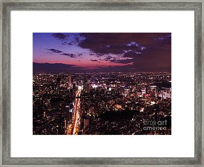 Dramatic Twilight Scenery Of Tokyo City Landscape And Highway Framed Print