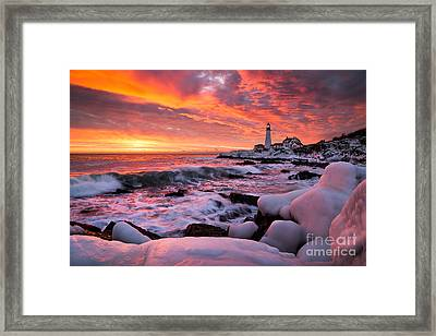 Dramatic Winter Sunrise At Portland Head Light Framed Print by Benjamin Williamson