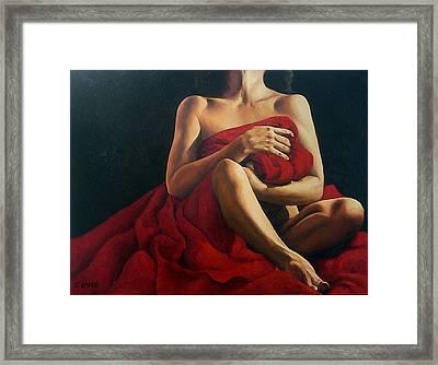 Draped In Red Framed Print by Trisha Lambi
