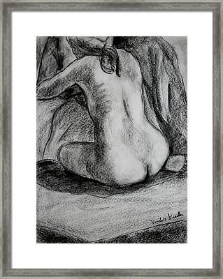 Drapery Pull Framed Print