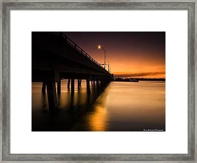 Drawbridge At Sunset Framed Print