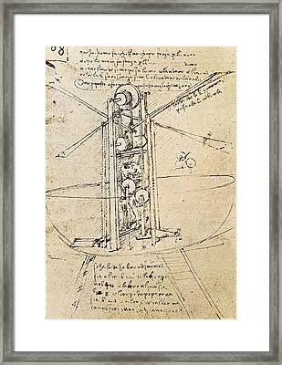 Drawing By Leonardo Da Vinci.. Flying Framed Print by Everett